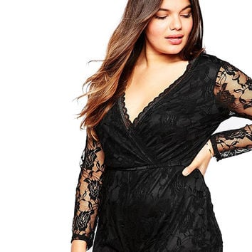Plus Size Wrap Front Black Romper with Lace Sleeves