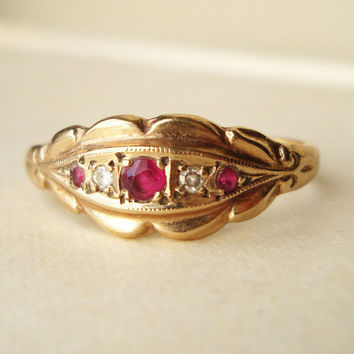 Vintage Victorian Design Ruby Diamond 9k Gold by luxedeluxe