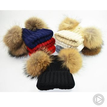 Mink and Fox fur Two Ball Cap Pom Poms winter hat for women girl 's hat knitted beanies cap brand new thick female cap