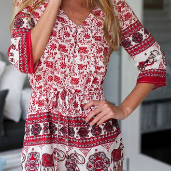 Red Floral Leaves And Elephant Print V Neck Romper
