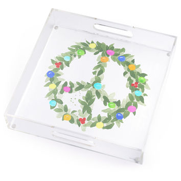 Peace Wreath Lucite Tray