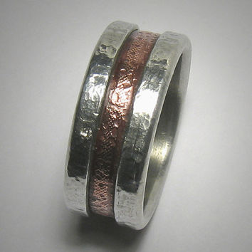 Rustic wedding band for men or women - custom handmade mixed metal men's engagement ring - copper and silver wedding band