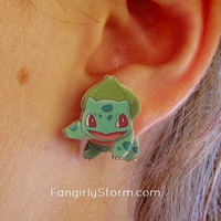 Bulbasaur Pokemon Clinging earrings Handmade kawaii geeky  gamer two part front and back post earrings