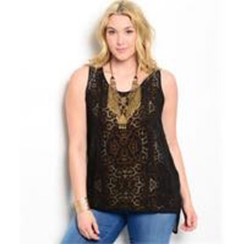 Black Animal Plus Size top