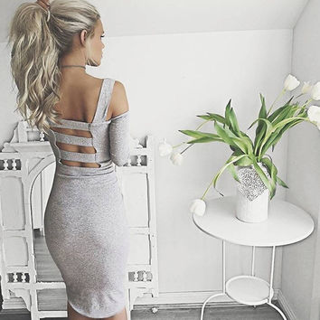 Long Sleeve Backless Spaghetti Strap Fashion One Piece Dress [9605232527]