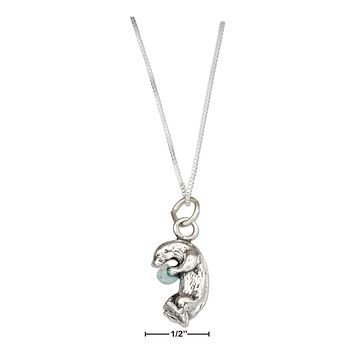 "STERLING SILVER 18"" OTTER NECKLACE WITH SYNTHETIC LIGHT BLUE OPAL CHIP"