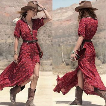 Sexy Long Dress 2017 Summer National Style V Neck 3/4 Sleeve Floral Printed Sexy Split Maxi Long Dress Boho Beach Vestidos Femme