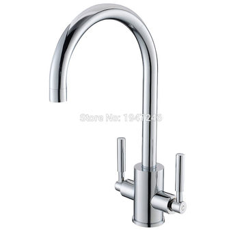 Double Handles Chrome Kitchen Sink Faucet