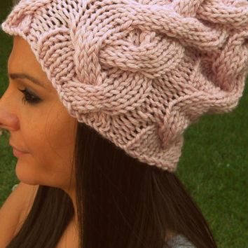 Powder color knit hat,woman hat,light pink hat, winter accessories,slouchy beanie,slouch hat,