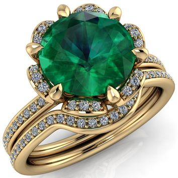 Daisy Round Emerald Floral Diamond Basket Design and Diamond Shoulders Ring