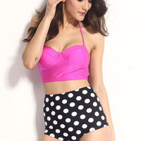 Pink and Black High Waisted Halter Polka Dot Lace Up Bikini