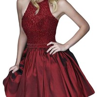 Ubridal Halter Beading Short Homecoming Dresses Backless Prom Party Dress Gown
