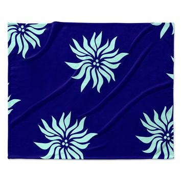"NL Designs ""Snow Flowers"" Blue Aqua Fleece Throw Blanket"