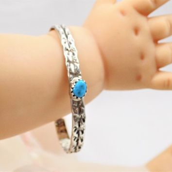 Sterling Turquoise Child's Cuff Bracelet, Native American, Vintage Bracelets