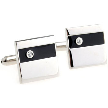 Formal Black and Silver Cufflink Set with Crystal
