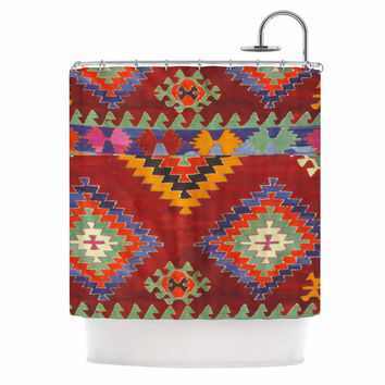 """S Seema Z """"TAPESTRY ETHNIC"""" Red Pattern Shower Curtain"""