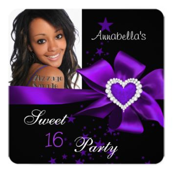 Purple Sweet 16 Birthday Party Heart Photo 5.25x5.25 Square Paper Invitation Card