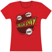 Green Day Women's  Power Up Girls Jr Soft tee Red