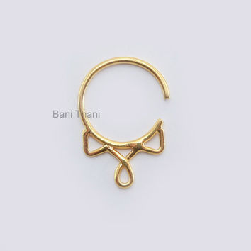 Handmade Gold Plated 925 Sterling Silver Septum Ring For Pierced Nose Real Septum - #5899