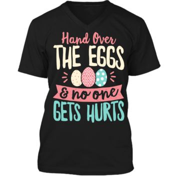 Hand Over The Eggs and No One Gets Hurt Easter T shirt Boys Mens Printed V-Neck T