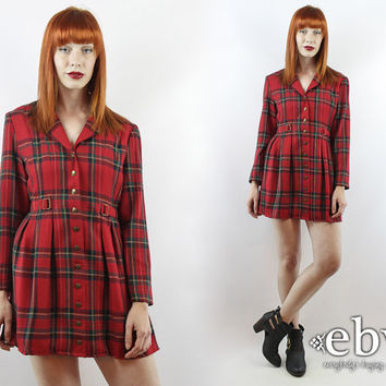 Vintage 90s Red Plaid Babydoll Dress M 90s Grunge Dress Tartan Plaid Dress Red Dress Red Plaid Dress Plaid Mini Dress 90s Plaid Dress