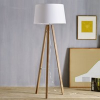 Tripod Wood Floor Lamp