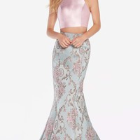 Alyce 60120 Printed 2 Piece Dress with Trumpet Skirt- Antique Blue-Pink