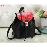FENDI Newest Fashionable Women Casual Daypack School Bag Leather Backpack Red