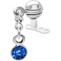 Steel Ball Sapphire Gem Dangling Dermal Anchor Top | Body Candy Body Jewelry