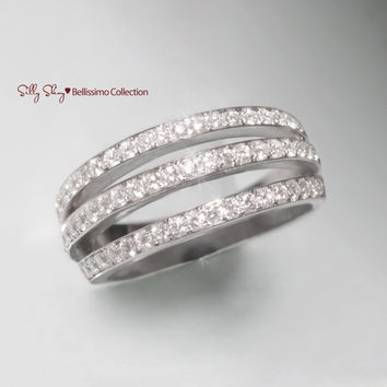 3 Eternity  Diamond Rows 14K White gold ring. Looks like 3 diamond rings