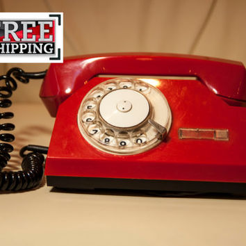 Rotary telephone red USSR Soviet vintage FREE SHIPPING!!!