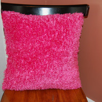 Fluffy Funky Pink Pillow, Decorative, Super Soft Pink Fuzzy Pillow