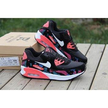 """Nike Air Max 90"" Women Contrast Color Air Cushion Sport Sneakers Running Shoes I"