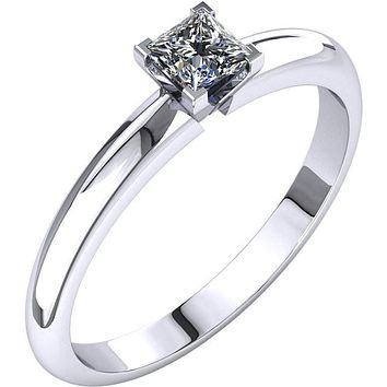 Certified Four Prong Solitaire 1/4Ct. Princess Cut Diamond Engagement Ring