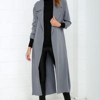 Night Drive Grey Trench Coat
