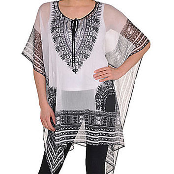 Peter Nygard Bohemain Chic Caftan - White/Black Combo ONE