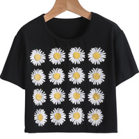 Black Short Sleeve Sunflowers Print Crop T-Shirt - Sheinside.com