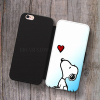 snoopy love heart Wallet Leather Case for iPhone 4s 5s 5C SE 6S Plus Case, Samsung S3 S4 S5 S6 S7 Edge Note 3 4 5 Cases
