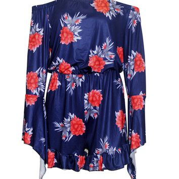 Streetstyle  Casual Bell Sleeve Off Shoulder Ruffled Hem Floral Printed Romper