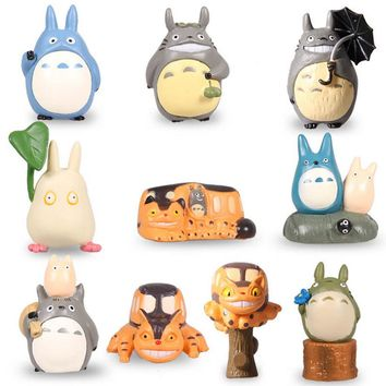 HOT Anime My Neighbor Totoro Set of 10pcs Mini Action Figures PVC Models Dolls Toys Chu Totoro, Chibi  Catbus Doll