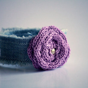 Denim Wrist Cuff With Lavender Crocheted Rose - Bracelet - Jewelry Recycle - Free Shipping