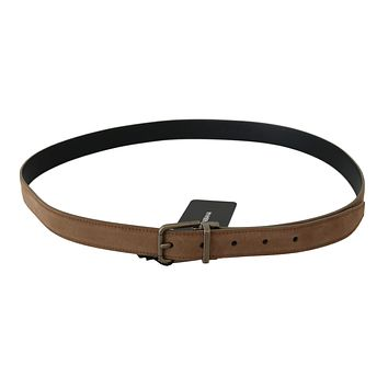 Dolce & Gabbana Brown Leather Gold Metal Buckle Belt