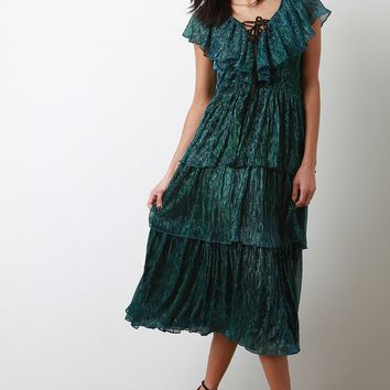 Iridescent Accordion Pleated Tiered Maxi Dress