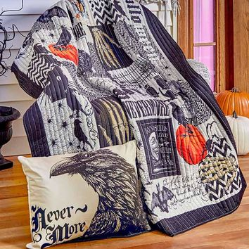 Halloween Quilted Throw or Accent Pillow Black Cream Orange Spooky Print Gothic