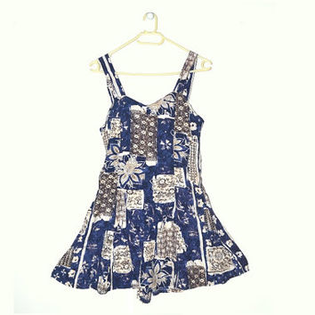 Vintage Floral Romper Dress 90s Grunge Womens Playsuit Blue Mini Summer Beach Extra Small S XS