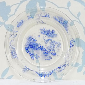 Pyrex Tea Plate,  Blue Willow Pattern, 1960's, JAJ Pyrex, Pyrex England, Made in England, Homewares, Kitchenalia
