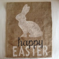 Happy Easter Burlap Banner with Bunny - Ivory and Gray