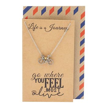 Ciara Journey Necklace with Bicycle Pendant for Women, Inspirational Quote on Greeting Card