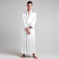 Mens 100% Mulberry Silk Bath Robe Full-length Contrast Trim Gown Sleepwear