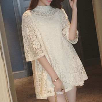 Womens Summer Loose Lace Chiffon Mini Dress Gift 68